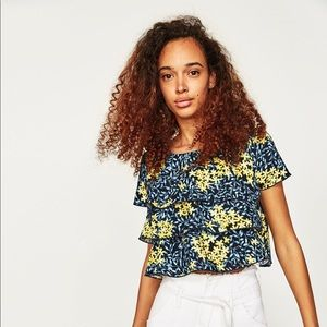 Zara Floral Printed Top with Frills